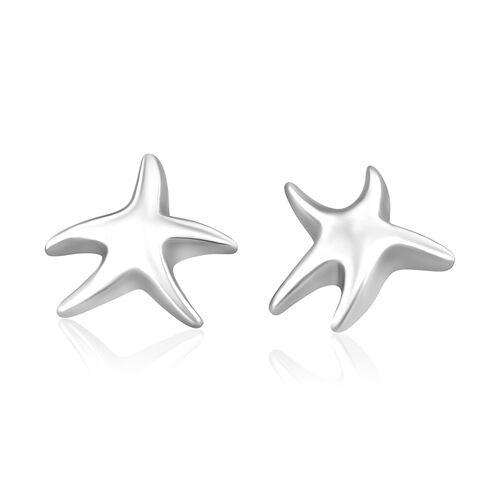 RHAPSODY 950 Platinum Star Fish Stud Earrings (with Screw Back)