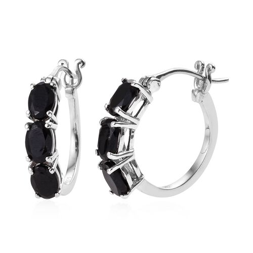Black Tourmaline (Ovl) Three Stone Hoop Earrings (with Clasp) in Platinum Overlay Sterling Silver 3.