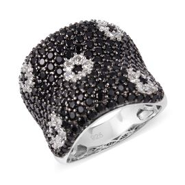 Boi Ploi Black Spinel (Rnd), Simulated Diamond Ring in Rhodium and Black Plating Sterling Silver 6.0