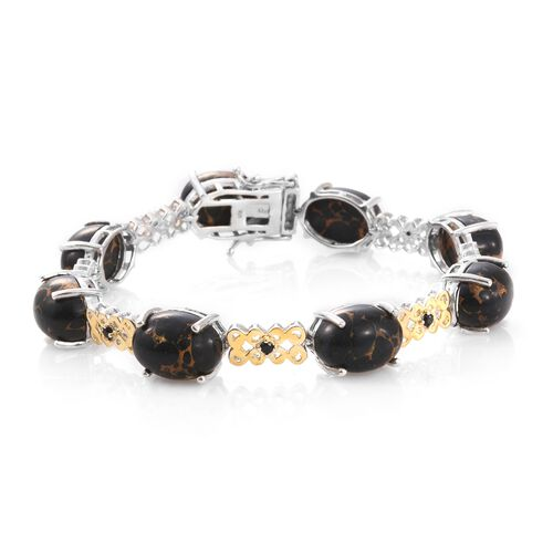 Designer Inspired-Arizona Mojave Black Turquoise (Ovl), Boi Ploi Black Spinel Bracelet (Size 7.75) i