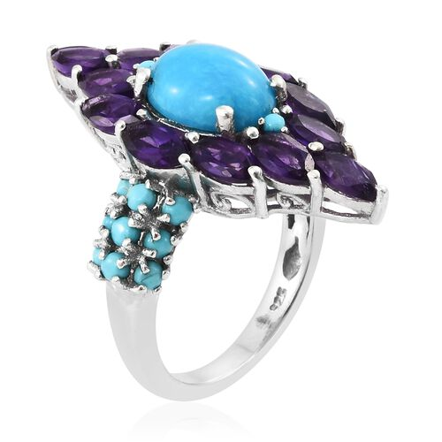 Arizona Sleeping Beauty Turquoise (Ovl 2.35 Ct), Amethyst Ring in Platinum Overlay Sterling Silver 5.750 Ct. Silver wt 5.09 Gms.