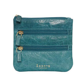 Assots London LAURA Soft Small Zip Top Leather Coin Purse (Size 11x10cm) - Blue