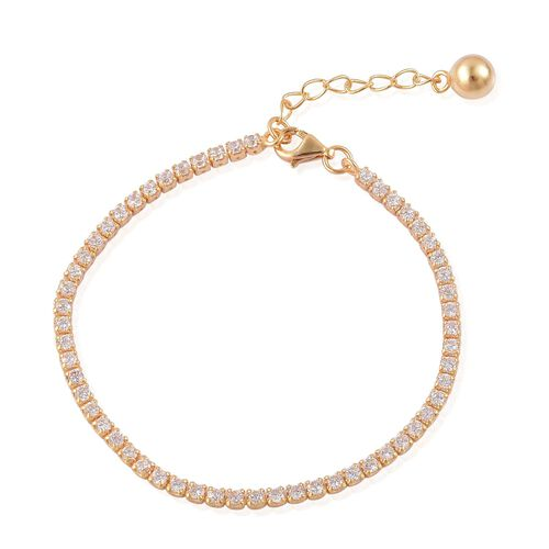 ELANZA AAA Simulated White Diamond Tennis Bracelet (Size 6 with 1 inch Extender) in Yellow Gold Overlay Sterling Silver. Silver wt. 3.00 Gms.
