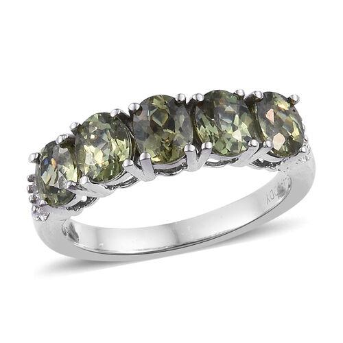 RHAPSODY 2.05 Ct AAAA Russian Demantoid Garnet and Diamond 5 Stone Ring in 950 Platinum 4.9 Grams