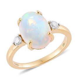 ILIANA 18K Yellow Gold AAA Ethiopian Welo Opal (Ovl 3.25 Ct), Diamond (SI/ G-H) Ring 3.500 Ct.