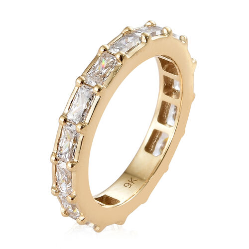 J Francis 9K Yellow Gold (Bgt) Eternity Band Ring Made With SWAROVSKI ZIRCONIA, Gold wt 3.04 Gms