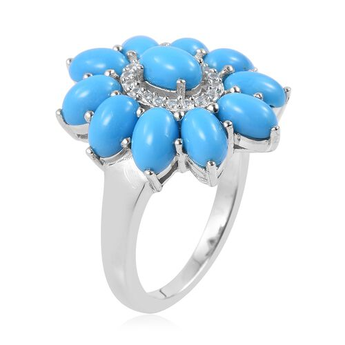 Arizona Sleeping Beauty Turquoise (Ovl), Natural White Cambodian Zircon Flower Ring in Rhodium Plated Sterling Silver 4.750 Ct. Silver wt 5.12 Gms.