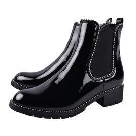 Faux Leather Gusset Boots Black