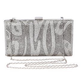 Fancy Pattern Crystal Studded Clutch Bag with Detachable Shoulder Chain Strap and Toggle Clip (Size
