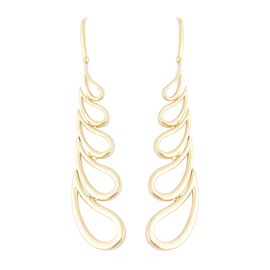 Lucy Q Yellow Gold Overlay Sterling Silver Open Drip Hook Earrings, Silver wt 14.83 Gms.