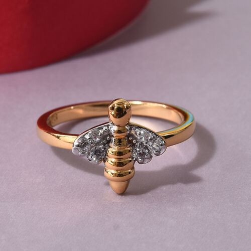 Natural Cambodian Zircon Bee Ring in Platinum and Yellow Gold Overlay Sterling Silver