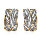 Diamond Stud Earrings in Platinum and Gold Plated Silver 0.01 Ct