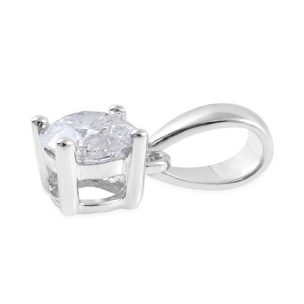 9K White Gold SGL Certified Diamond (Rnd) (I3/G-H) Solitaire Pendant  0.50 Ct.