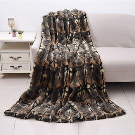 Super Soft Faux Fur Mink Snake Skin Pattern Blanket (Size 200x150 Cm) - Brown