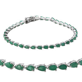 7 Carat Zambian Emerald Tennis Bracelet in Platinum Plated Sterling Silver 8.5 Grams