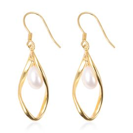 Fresh Water Pearl (Ovl) Earrings (with Hook) in Yellow Gold Overlay Sterling Silver