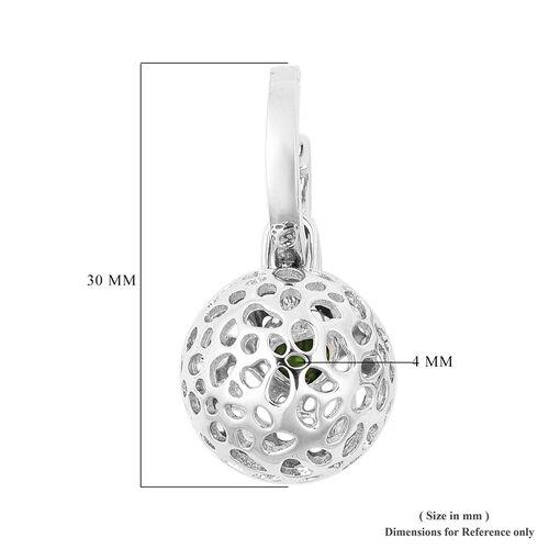 RACHEL GALLEY Russian Diopside Detachable Lattice Globe Drop Earrings in Rhodium Overlay Sterling Silver
