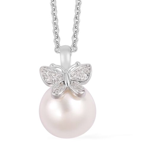 South Sea White Pearl (Rnd 11-12mm), Natural White Cambodian Zircon Pendant with Chain in Rhodium Plated Sterling Silver