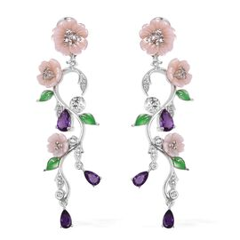 JARDIN COLLECTION - Pink Mother of Pearl, Amethyst and Natural White Cambodian Zircon Floral Enameled Earrings (with French Clasp) in Rhodium Overlay Sterling Silver, Silver wt 7.32 Gms