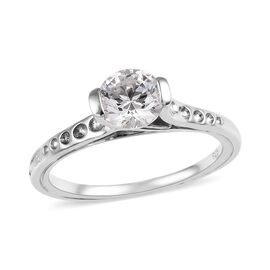 J Francis Made with White SWAROVSKI ZIRCONIA Solitaire Ring in Platinum Plated Silver