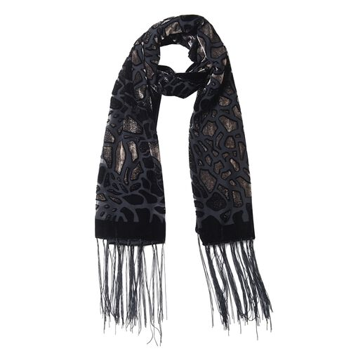 Black and Coffee Colour Crack Pattern with Leopard Print Scarf (Size 155x50 Cm)