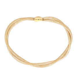 Italian Made 9K Yellow Gold Stretchable Mesh Ribbon Bangle (size 6-10)