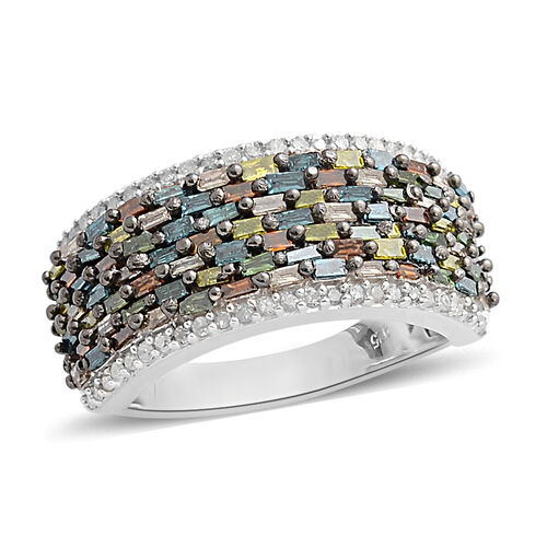 1 Carat Multi Colour Diamond Half Eternity Ring in Platinum Plated Sterling Silver 4.7 Grams
