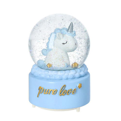 Blue Unicorn Water Globe with Music and Glitter - (Requires 3xAAA Batteries - Not Inc)