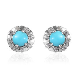 1.15 Ct Arizona Sleeping Beauty Turquoise and Zircon Floral Stud Earrings in Platinum Plated Silver