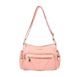 SENCILLEZ Multi Pocket Genuine Leather Crossbody Bag (Size 31x13x21 cm) - Pink