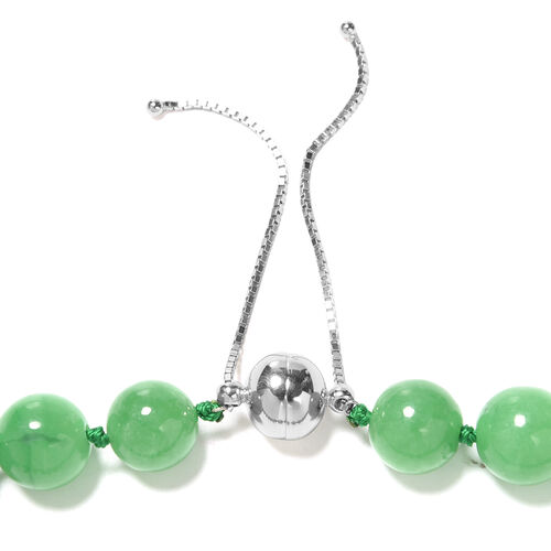 Super Find-Green Jade Adjustable Beads Necklace (Size 18-22) with Magnetic Clasp in Sterling Silver 801.01 Ct.