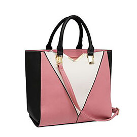 New Season - Colour Blocking Handbag with Removable Strap (28 x 31 x 16) - Pink