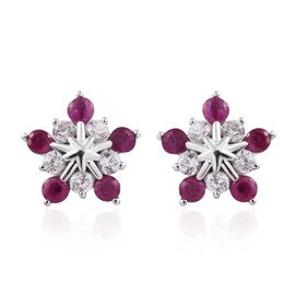 9K White Gold 1.75 Ct AAA Burmese Ruby Starburst Earrings (with Push Back) with Natural Cambodian Zi