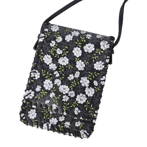 Water Resistant Floral Print Sling Bag with Button Closure (Size 12.5x18cm) - Black