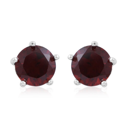 Mozambique Garnet (Rnd) Stud Earrings (with Push Back) in Rhodium Plated Sterling Silver 3.000 Ct.