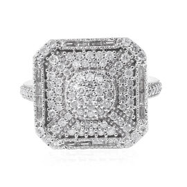 9K White Gold Diamond (Bgt and Rnd) Ring 1.000 Ct., Number of Diamond 110.