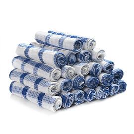 Set of 24 - 100% Cotton Blue Checkered Cotton Dish Cloth (31x31cm)