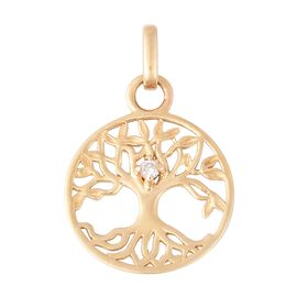 Designer Inspired-9K Yellow Gold Diamond (Rnd) Tree of Life Pendant