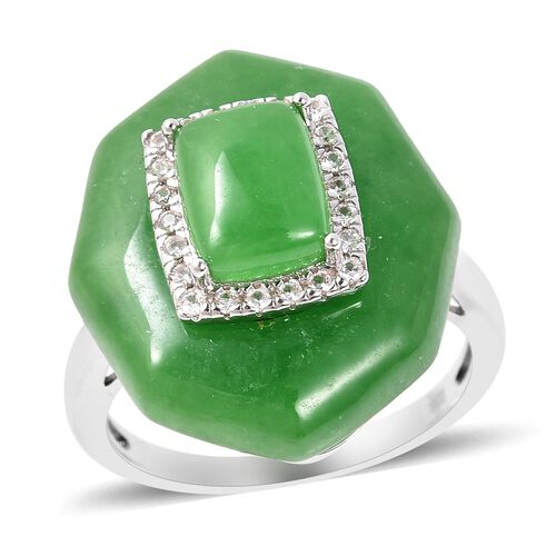 24 Carat Green Jade and Zircon Classic Ring in Rhodium Plated Sterling Silver