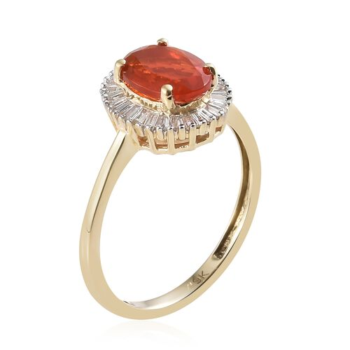 One Time Deal- 9K Yellow Gold Jalisco AAA Fire Opal (Ovl8X6 mm) and Diamond Ring 1.000 Ct.