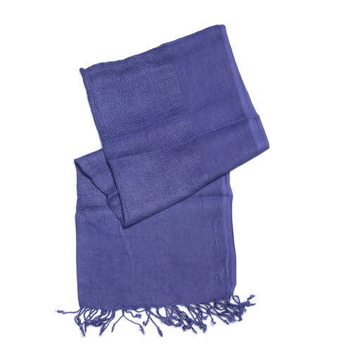 Luxurious Super Soft 100% Linen Handloom Woven Natural Dyed Blue Colour Shawl (Size 180x70 Cm)
