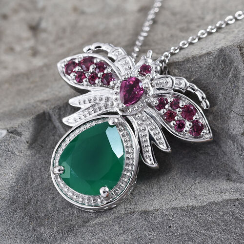 Verde Onyx (Pear 10x8 mm), Rhodolite Garnet Bee Pendant With Chain (Size 20) in Platinum Overlay Sterling Silver 2.500 Ct, Silver wt 5.03 Gms