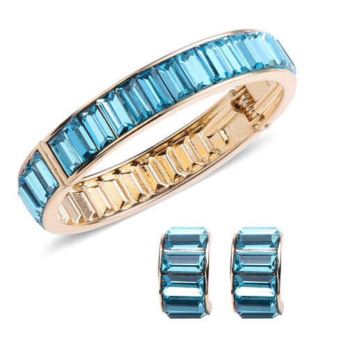 2 Piece Set - Simulated Aquamarine Eternity Bangle (Size 7.5) and Earrings (with Push Back) in Gold