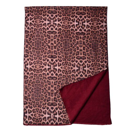 Double-Sided Leopard Print and Solid Colour Scarf (Size 65x185cm) - Burgundy