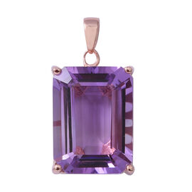 Rose De France Amethyst (Oct 20x15 mm) Pendant in Rose Gold Overlay Sterling Silver 21.210 Ct.