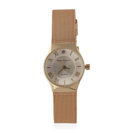 DIAMOND and CO LONDON Diamond Studded Bracelet Watch with a Stainless Steel Mesh Style Strap in Gold