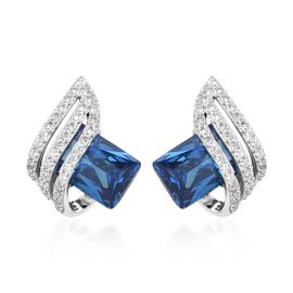 ELANZA Blue Sapphire and Simulated Diamond Stud Earrings in Rhodium Plated Sterling Silver