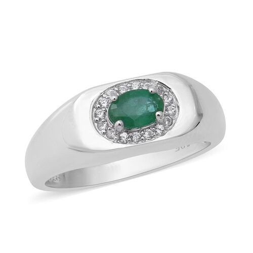 Kagem Zambian Emerald and Zircon Halo Ring in Rhodium Plated Sterling Silver