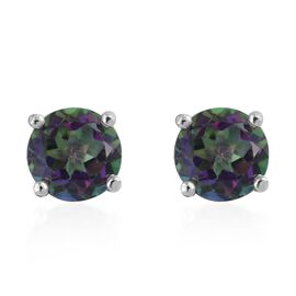 Northern Lights Mystic Topaz (Rnd) Stud Earrings (with Push Back) in Platinum Overlay Sterling Silve