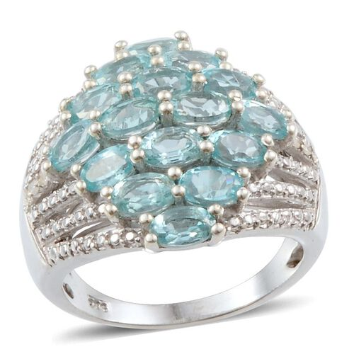 Paraibe Apatite (Ovl), Diamond Ring in Platinum Overlay Sterling Silver 4.050 Ct.
